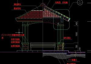 园林景观节点四角凉亭设计CAD施工图
