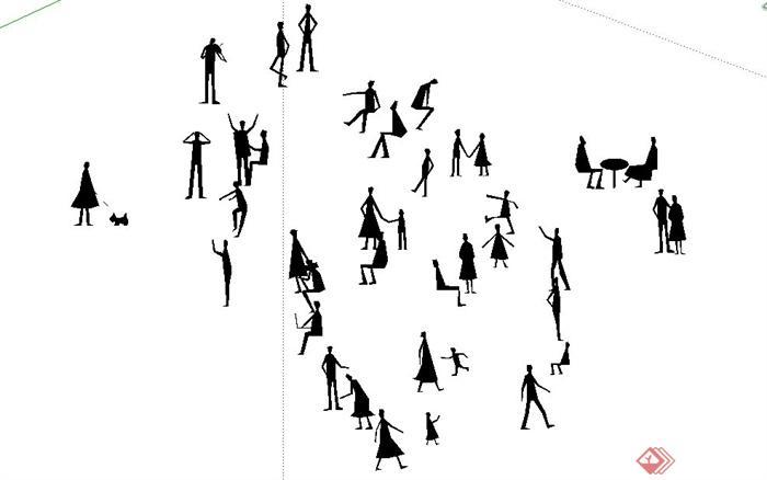 妹岛和世剪影小人CAD图与SU亿博网络平台(2)