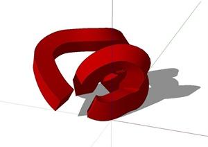 现代抽象小品设计SU(草图大师)模型