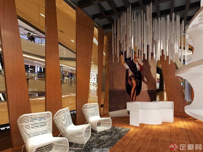 服装展厅室内设计cad施工图、3d模型、ps排版以及效果图(5)