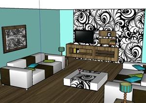 现代某住宅客厅家装设计SU(草图大师)模型