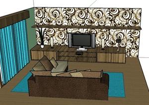 现代住宅室内客厅装修设计SU(草图大师)模型