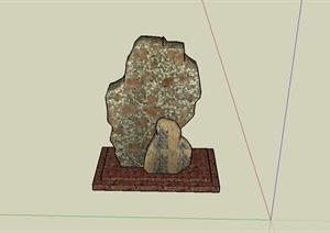 某小区标志景石石头设计SU(草图大师)模型