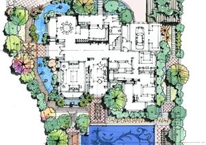 某欧式别墅庭院花园设计方案