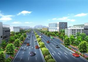 某城市一级公路绿化规划设计PSD效果图