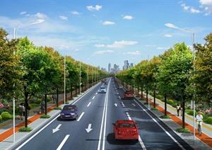 公路绿化方案设计PSD效果图