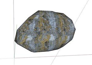 单个非常逼真石块设计SU(草图大师)模型