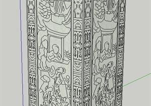园林景观节点浮雕景观柱设计SU(草图大师)模型