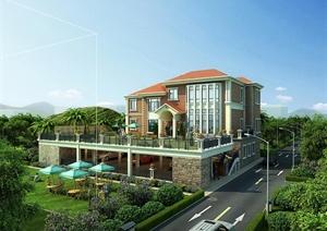 3层现代风格私人独栋别墅建筑设计cad施工图(全专业图纸、含效果图)