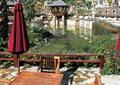 小区中庭景观,伞桌椅,水池,凉亭