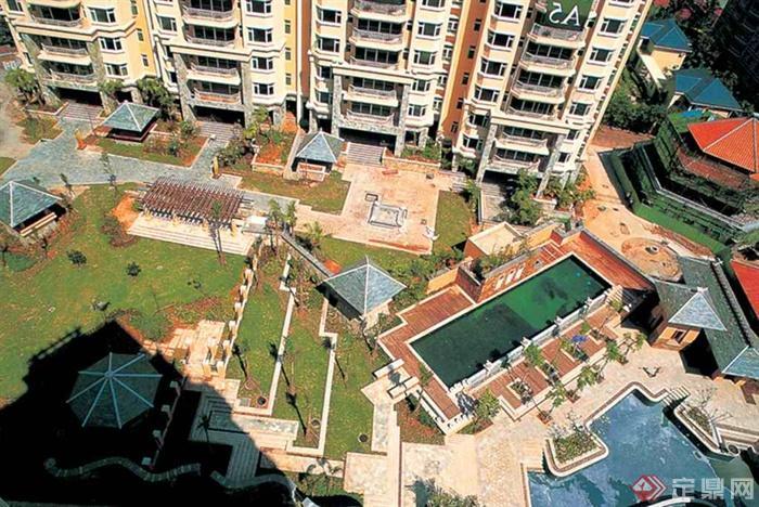 小区中庭景观,水池,凉亭,廊架