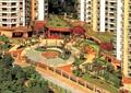 小区绿化景观,围墙,木廊架,拼花铺装