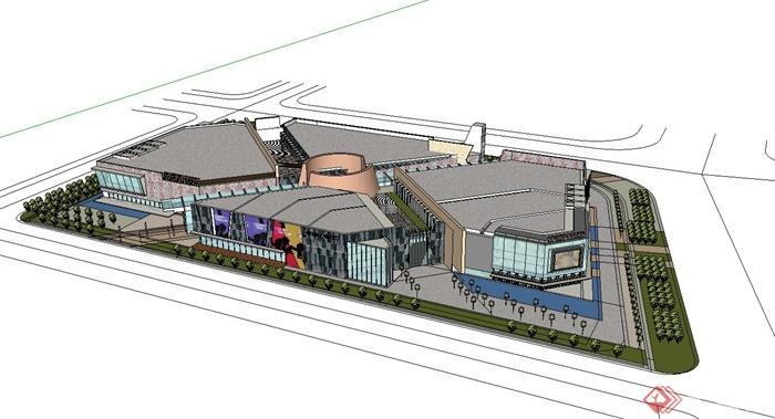 现代风格大型商业建筑设计su模型(3)