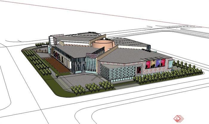 现代风格大型商业建筑设计su模型(4)