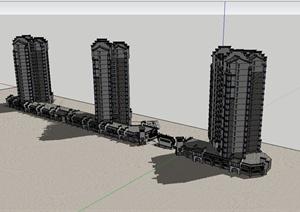 古典中式住宅楼设计SU(草图大师)模型