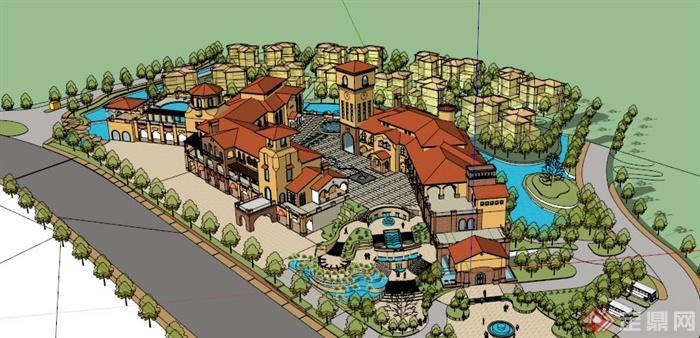 西班牙风格大型会所建筑设计SU模型(3)