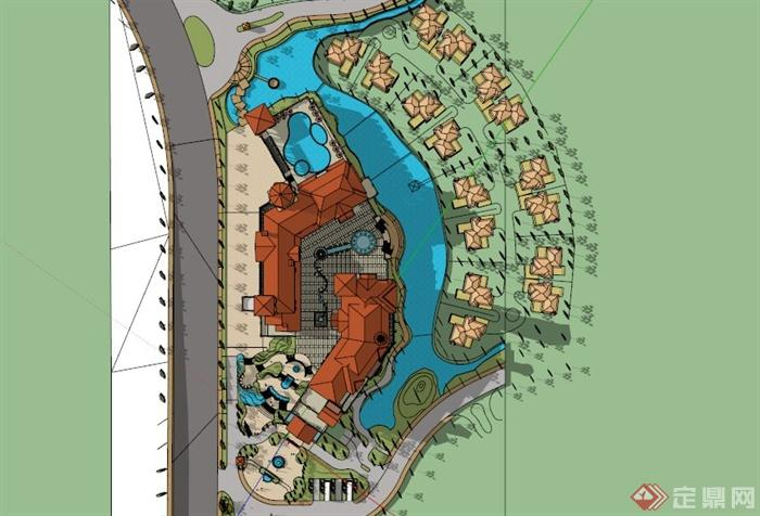 西班牙风格大型会所建筑设计SU模型(4)