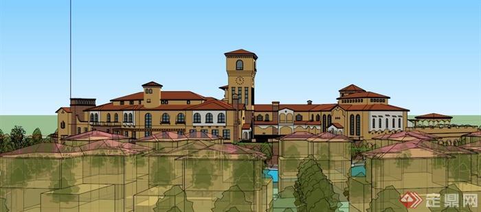 西班牙风格大型会所建筑设计SU模型(6)