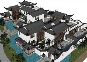 一组苏式园林别墅设计SU(草图大师)模型