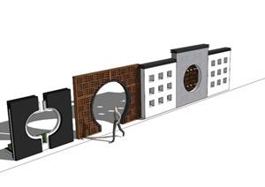 现代中式景墙设计合集SU(草图大师)模型
