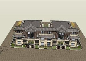 联排别墅建筑设计SU(草图大师)模型