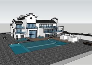 徽派中式住宅建筑设计SU(草图大师)模型