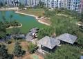 小区中庭景观,中庭水池景观,凉亭,滨水木栈道