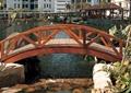 园桥,木桥,水池