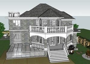无锡欧式别墅建筑设计SU(草图大师)模型