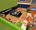 別墅庭院,庭院花園,休息平臺,沙發組合,木平臺