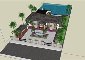 美式风格独栋别墅建筑含庭院设计SU(草图大师)模型