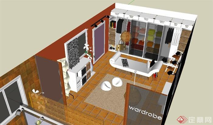 某特色酒店客房设计su模型(3)
