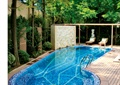 庭院,庭院景观,露天泳池,景墙,木栈道