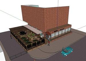某现代咖啡店户外餐饮空间设计SU(草图大师)模型