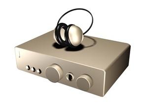 某家用音响耳机组合3D模型