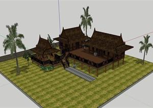 东南亚风格旅游区建筑设计SU(草图大师)模型