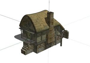 破旧小木屋居住建筑SU(草图大师)模型