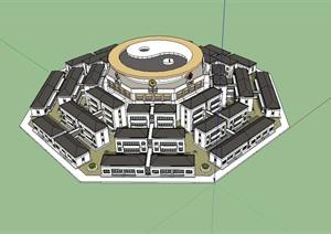 青州太极别墅建筑设计SU(草图大师)模型