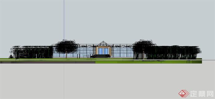 温室大棚生态餐厅SU模型(3)