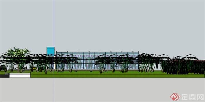 温室大棚生态餐厅SU模型(4)