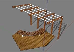 某现代镂空廊架坐凳SU(草图大师)模型