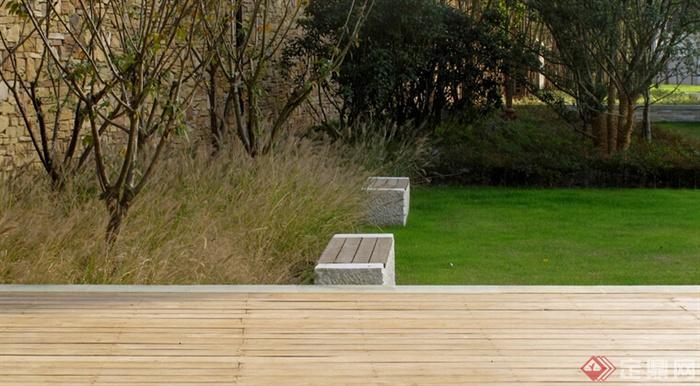 光源景观,草坪景观,木平台