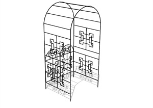 现代中式铁艺廊架SU(草图大师)模型
