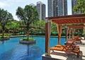 水池景观,休闲廊架,木廊架,躺椅,树池
