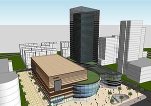 扬州某综合大楼建筑SU(草图大师)模型