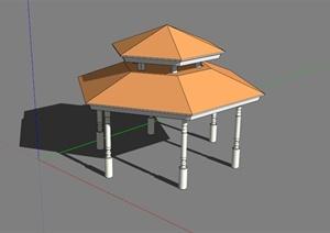 六角重檐亭子SU(草图大师)模型