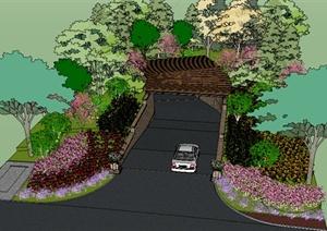 某住宅小区景观车库入口景观设计SU(草图大师)模型