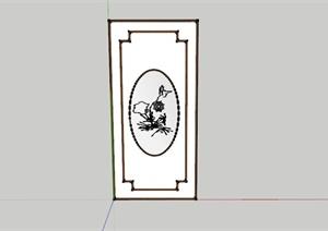 中式背景装饰画设计SU(草图大师)模型