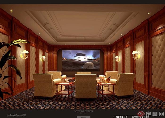 上海檀宫别墅住宅空间设计jpg方案及效果图(4)