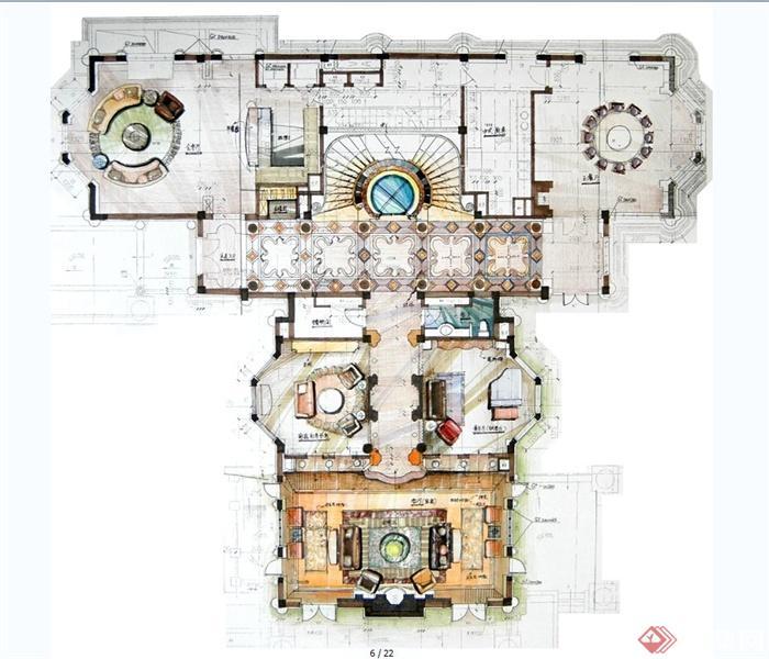 上海檀宫别墅住宅空间设计jpg方案及效果图(5)